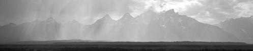 Teton Rain Storm Grayscale